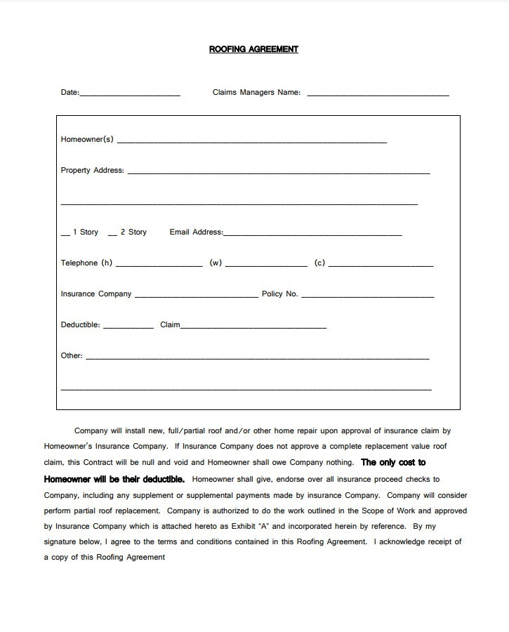 free printable roofing contract template pdf
