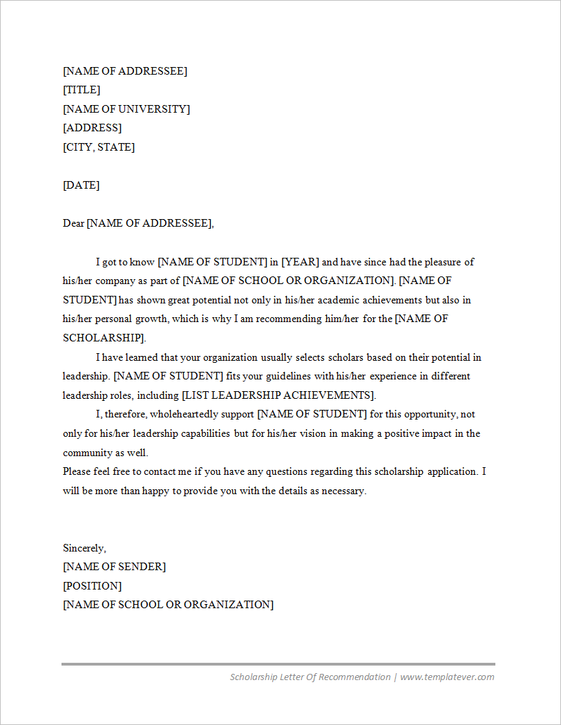 free printable scholarship letter of recommendation template word