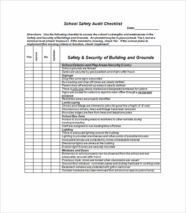 free printable school safety audit checklist template word