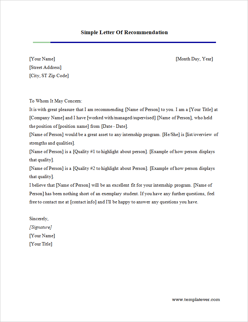 free printable simple letter of recommendation template word