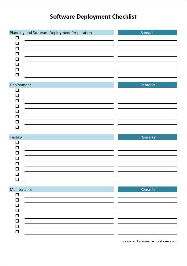 free printable software deployment checklist template excel
