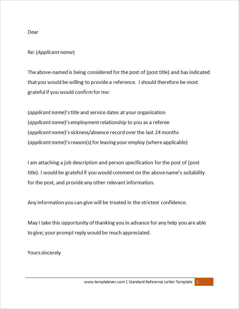 free printable simple standard reference letter template word