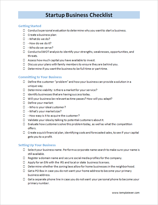 free printable startup business checklist template word