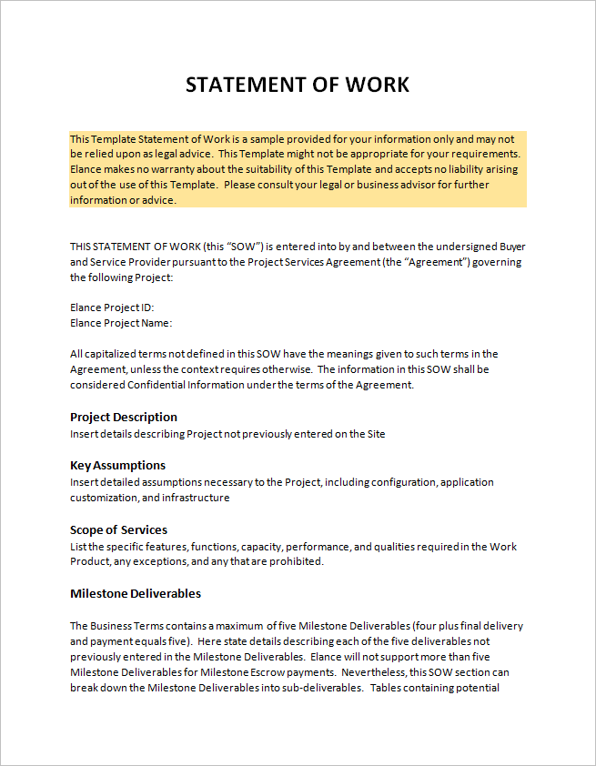 free printable statement of work (SOW) template Word