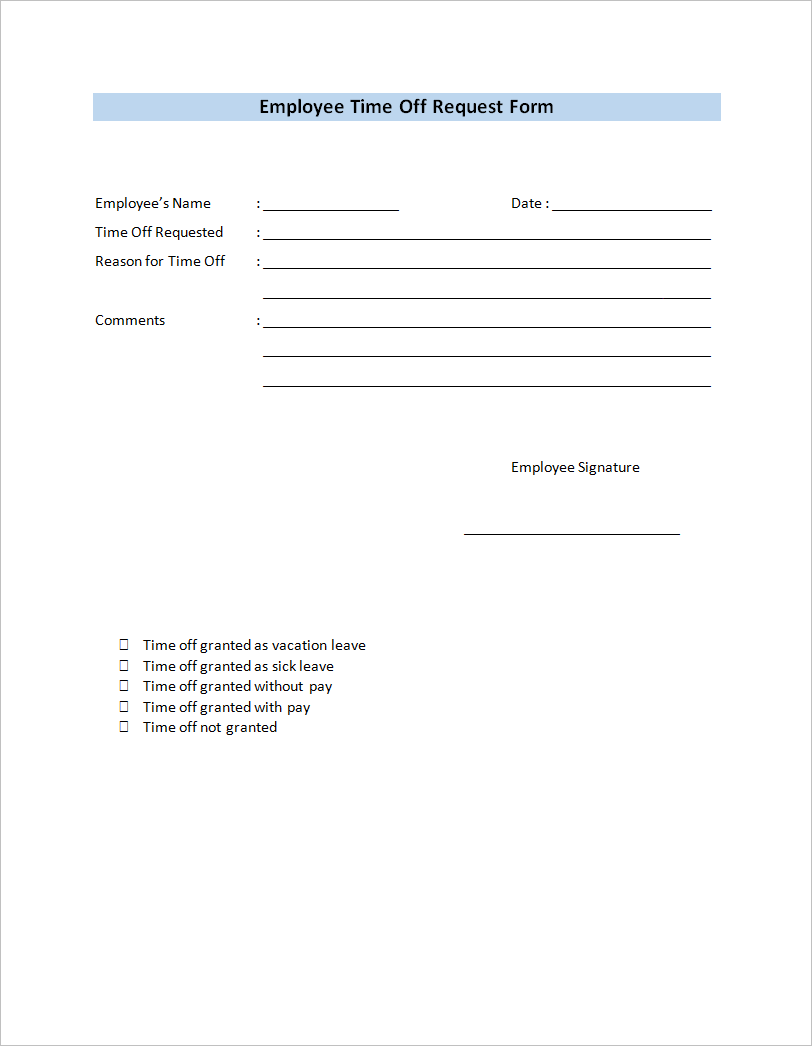 free printable employee time off request form template word