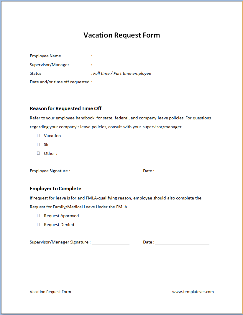 Free Printable Vacation Request Form Template Word